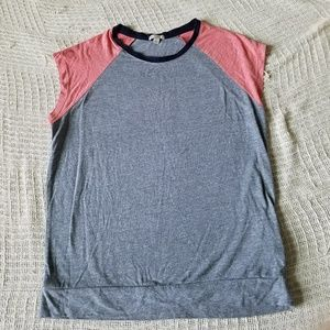 GAP Grey/Pink Baseball Tee with Cap Sleeves
